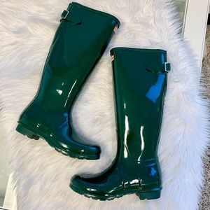 Hunter Original Gloss Rain Boots Green 8